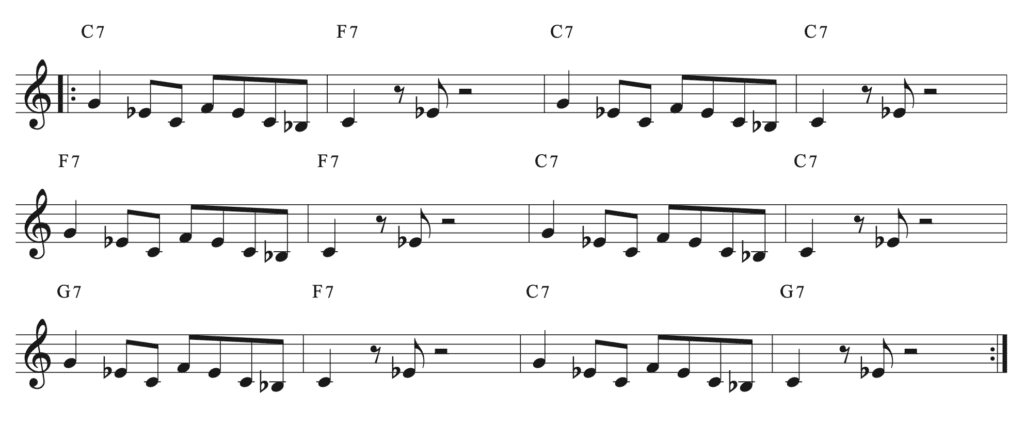 Exemple de composition blues en utilisant un riff